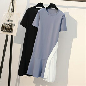 送料無料 半袖ロンt レディース ロングtシャツ ゆったり ドロップショルダー サイドスリット おしゃれ ビッグt ロンティー ティーシャツ ブルー ブラック XL XXL XXXL