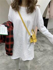 送料無料 韓国 長袖ロンt レディース ゆったり 体型カバー ロングtシャツ ドロップショルダー サイドスリット ビッグt ロンティー ティーシャツ トップス 春夏 速乾 ゆるtシャツ ビッグtシャツ レッスン着 女性用 ホワイト S M L XL 2XL