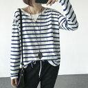 送料無料 ロングtシャツ ブラウス レディース vネック 長袖 チュニック 長袖tシャツロンt ゆるシャツ ビッグt ロンティー ティーシャツ ゆったり ブラック ブルー フリーサイズ ボーダー柄