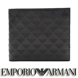 エンポリオ アルマーニ 財布 EMPORIO ARMANI メンズ 二つ折り財布 ブラック YEM122 YC043 80001