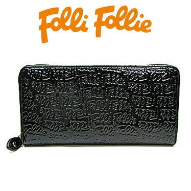 フォリフォリ 財布 Folli Follie 長財布 ラウンドファスナー ロゴマニア WA0L024SK ブラック