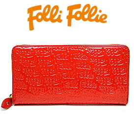 フォリフォリ 財布 Folli Follie 長財布 ラウンドファスナー ロゴマニア WA0L024SR RED レッド