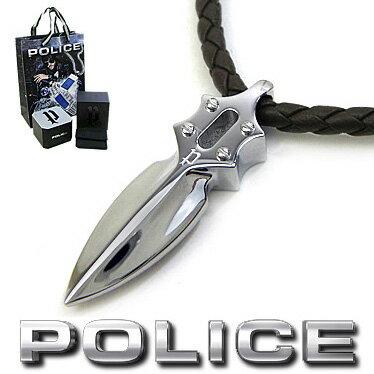 ポリス ネックレス POLICE キャスティングアローペンダント IMPACT 20575PLC02 ブラウンレザーチョーカー