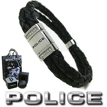 ポリス ブレスレット POLICE 2連レザー ROADSTER 24652BLB01 ブラック×シルバー ステンレスアクセサリー 【楽ギフ_包装】【楽ギフ_メッセ入力】【RCP】