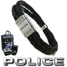 ポリス ブレスレット POLICE 2連レザー ROADSTER 24652BLB01 ブラック×シルバー ステンレスアクセサリー