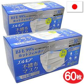 マスク 日本製 使い捨てマスク 60枚 エルモア 不織布マスク 白 国産マスク 3層式 大人用マスク 30枚入2箱