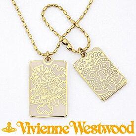 ヴィヴィアン ウエストウッド ネックレス Vivienne Westwood レットイットロック プレートタグ ペンダント ベージュ 【楽ギフ_包装】【楽ギフ_メッセ入力】【RCP】