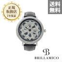 【正規取扱店】【1年保証】BRILLAMICO LILY 46MM BLACK x SILVER 正規取扱店 ブリラミコ 腕時計 スワロフスキー レデ…