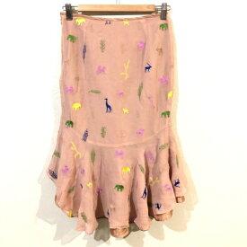 【値下げ】【SALE】GRACE CONTINENTAL グレースコンチネンタル アニマル刺繍デザイン シルクスカート 36 【中古】 【レディース】