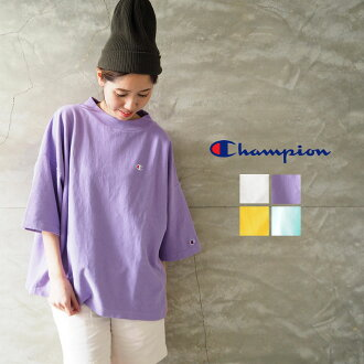 Shin pull casual American casual fashion loose logo one point gray green purple orange cotton cotton in champion champion pullover Lady's reverse Wiebe mock neck T-shirt CW-R308 short sleeves short sleeves T-shirt spring in the spring and summer