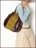 【送料無料】【カラーブロックレザーハンドバッグ]【ハンドバッグ革】【がま口バッグ】【がま口トートバッグ】【がま口ハンドバッグ】BROOM