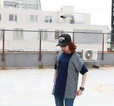 ナチュラルバイシクルNaturalbicycleTシャツ半袖トップスEZONOHApatternindigoT