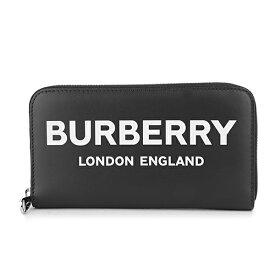 バーバリー 長財布(ラウンドファスナー) BURBERRY 8009211 A1189 財布 ロゴプリント LOGO PRINT ラウンドジップウォレット ユニセックス BLACK ブラック 黒【 送料無料】