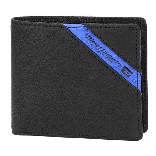 ディーゼル 2つ折り財布 DIESEL X03611 P1221 H6169 財布 ラインナップ LINE UP HIRESH S メンズ BLACK/BLUE ブラック 黒/ブルー 青 ロゴ バイカラー 上品 シンプル【 送料無料】