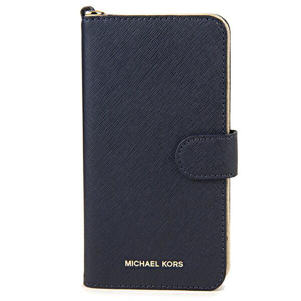 マイケルコース iPhone7 Plus/iPhone8 Plus スマートフォンケース MICHAEL KORS 32S7GE7L9L 414 ブランド小物 アイフォンケース ELECTRONIC LEATHER FOLIO PHONE CASE FOR IPHONE7/8 PLUS レディース ADOMIRAL(アドミラル) ネイビー 手帳型 フォリオ スマホケース アイフォン