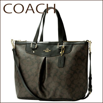 Coach shoulder bags COACH OUTLET F34614 IMAA8 bag signature signature Peyton women's BROWN/BLACK brown black Monogram A4 size storage-friendly 2-wAY classic chic functionality