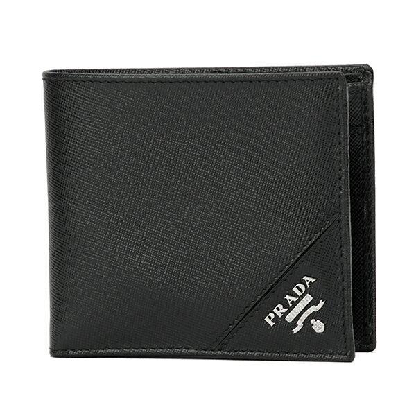プラダ 2つ折り財布 PRADA 2MO738 QME F0002 財布 サフィアーノ メタル SAFFIANO METAL メンズ NERO(ネロ) ブラック 黒 メタルロゴ 型押し エレガント 上品【 送料無料】