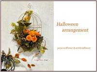 ■玄関・壁掛け■ハロウィンプリザーブドフラワー手作りキット■かぼちゃアレンジ■ハロウィン・キット・材料・花材・マニュアル■リース手作りキット■プリザーブドフラワーキット壁掛け■マニュアル付手作りキット鳥かごハロウィン