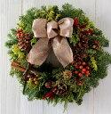 予約販売開始11/22より順次発送!モミの木 クリスマスリース■送料無料 完成品■クリスマス リース オレゴン産もみの木■生花 も…