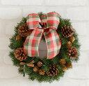 クリスマスリース30センチ 造花もみの木 完成品■造花・光触媒加工 クリスマスリース■選べるリボン■造花モミの木とナチュラル素材…