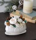 プリザーブドフラワークリアケース入り完成品送料無料クリスマス限定アレンジティーカップとソーサークリスマスプリザホワイトギフトプレゼント