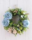 ■リース 玄関用にも■キット・材料・花材・マニュアル■リース 造花 手作りキット■ラナンキュラスのお花をアレンジした爽やかリー…