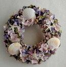 【造花手作りキット(材料・マニュアル)】プリザーブドフラワーのような風合いのアジサイと貝が人気リースの手作りキット。初心者の方にも安心の写真入りのマニュアル付