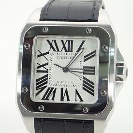 カルティエ【CARTIER】サントス100LMSSレザーベルト自動巻*W20073X8オートマメンズ腕時計【中古】