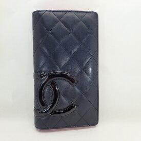 シャネル【CHANEL】カンボンライン二つ折り長財布レザーブラック【中古】