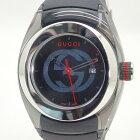 グッチ【GUCCI】SYNCシンクレディースクォーツ腕時計*137.3 YA137301SSラバーベルトブラック【中古】