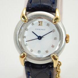 ショーメ【CHAUMET】SS/YGダイヤグリフィスレディースクォーツ腕時計レザーベルト【中古】