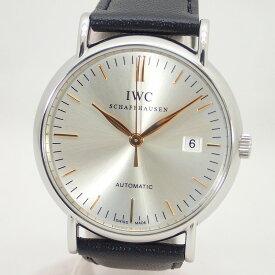 【IWC】インターナショナル・ウォッチ・カンパニーポートフィノSSレザーベルトメンズ自動巻きオートマ腕時計*IW356303【中古)