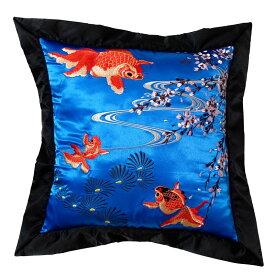 花旅楽団 はなたびがくだんスクリプト 桜と金魚刺繍クッション ESC-003 50cm×50cm 和柄 ギフト プレゼント
