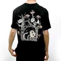 花旅楽団はなたびがくだんスクリプト刺繍半袖TシャツST-801梅とパンダ