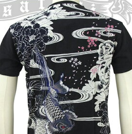 SATORI さとり牡丹に下り滝鯉Tシャツ GST-501 和柄 大きいサイズXXL 3L