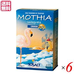 塩 天然 粗塩 モティア サーレ イングラーレ グロッソ 粗塩 1kg ソサルト(SOSALT)社 6箱セット 送料無料