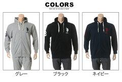 綿100%胸ビッグロゴ刺繍フルジップ長袖パーカー