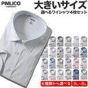 【ポイント5倍】長袖ワイシャツ メンズ 大きいサイズ WEB限定 4枚セット 形態安定 Yシャツ ドレスシャツ レギュラーカラー ボタンダウン サカゼン 全6色 3L 4L 5L 6L PIMLICO 大きいサイズメンズのサカゼン ピムリコ