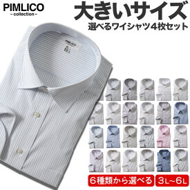 長袖ワイシャツ メンズ 大きいサイズ WEB限定 4枚セット 形態安定 Yシャツ ドレスシャツ レギュラーカラー ボタンダウン サカゼン 全6色 3L 4L 5L 6L PIMLICO ピムリコ