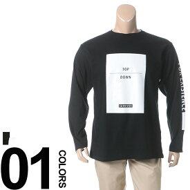返品・交換不可 在庫処分価格 大きいサイズ メンズ 綿100% BOXプリント クルーネック 長袖 Tシャツ B&T CLUB