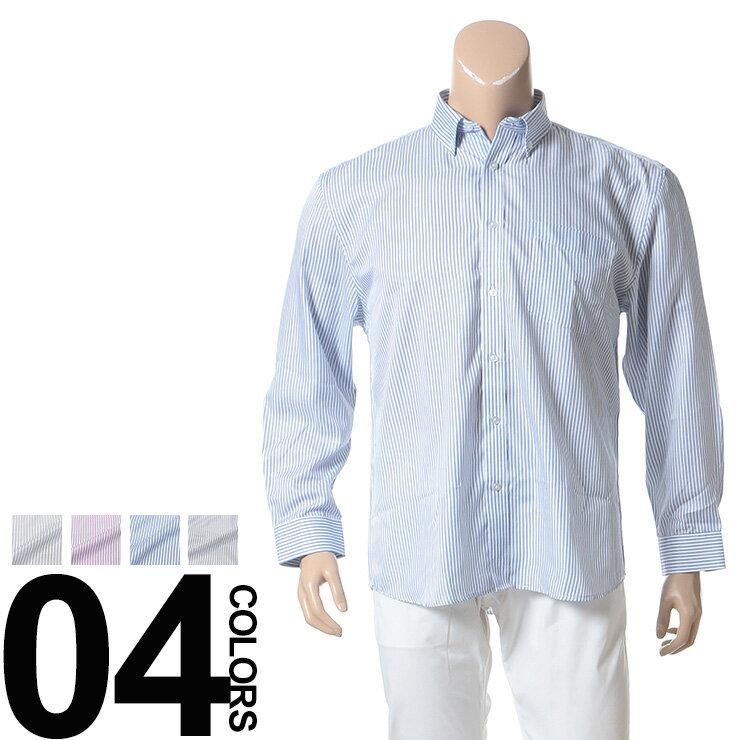 大きいサイズ メンズ B&T CLUB (ビーアンドティークラブ) ストライプ ポケット付き ボタンダウン 長袖 シャツ [3L 4L 5L 6L 7L 8L 相当] サカゼン ビッグサイズ カジュアル トップス シンプル カジュアルシャツ コットン