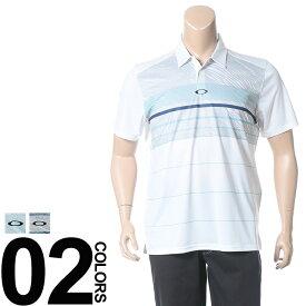 返品・交換不可 在庫処分価格 大きいサイズ メンズ OAKLEY オークリー ドライ 防臭 UVカット プリント切り替え 半袖 ポロシャツ