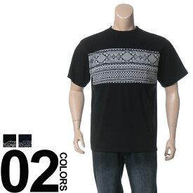返品・交換不可 在庫処分価格 クルーネック uネック 切り替え Tシャツ 半袖 メンズ 大きいサイズ バンダナ切り替え B&T CLUB