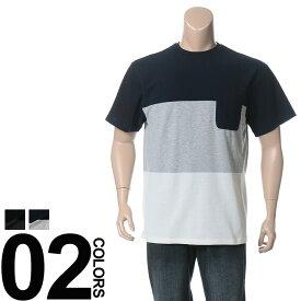 返品・交換不可 在庫処分価格 クルーネック uネック 切り替え Tシャツ 半袖 メンズ 大きいサイズ ミラノリブ 三段切り替え B&T CLUB