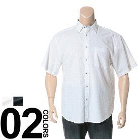 返品・交換不可 在庫処分価格 大きいサイズ メンズ 消臭抗菌 デオドランテープ付き 麻混 ドット柄 半袖 シャツ B&T CLUB
