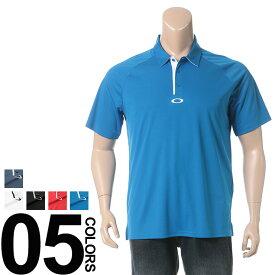 返品・交換不可 在庫処分価格 ゴルフウェア メンズ 大きいサイズ ポロシャツ 半袖 ドライ 防臭 UVカット ホワイト/ブラック/レッド/ブルー/ネイビー OAKLEY オークリー