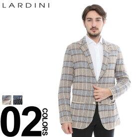 ラルディーニ LARDINI ジャケット リネン コットン ニット チェック 2B シングル ブランド メンズ LDJM2250018