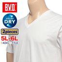 大きいサイズ メンズ B.V.D. (ビーブイディー) 2枚組み Vネック 半袖 アンダーシャツ [5L 6L] サカゼン 肌着 下着 インナー Tシャツ ドライ 速乾 吸水 快適 tシャツ