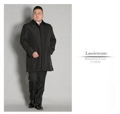 メンズ大きいサイズコート秋冬ビジネスコートメンズステンカラーコートハーフコートブラック3L4L5L6L