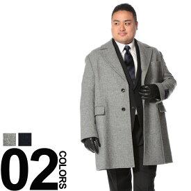 ビジネスコート 大きいサイズ メンズ 秋冬対応 コート ウール100% チェスター ハーフ グレー/ネイビー LLサイズ Tubby&outlook 大きいサイズのメンズコート サカゼン